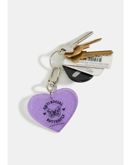 Anti Social Butterfly Keychain