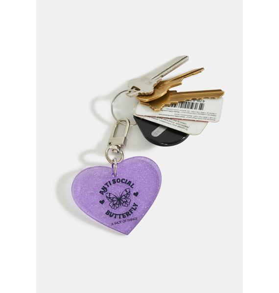 A Shop of Things Anti Social Butterfly Keychain