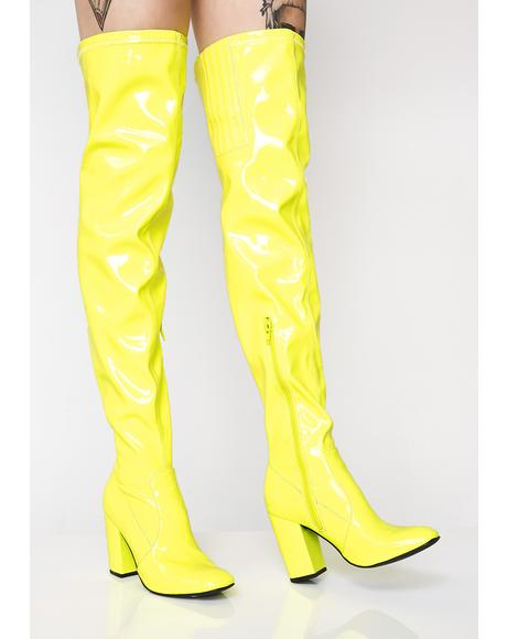 Cyber Yellow Thigh High Boots