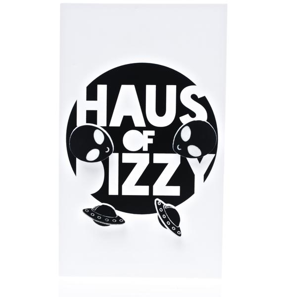 Haus of Dizzy Alien UFO Earring Set