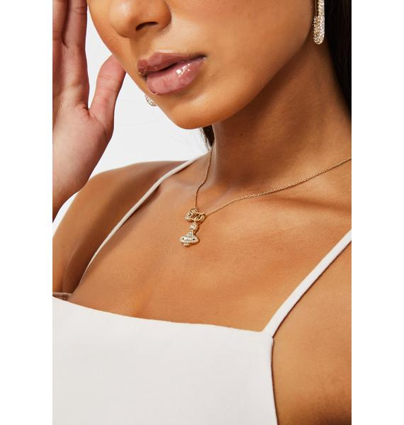 Glam World Safety Pin Necklace