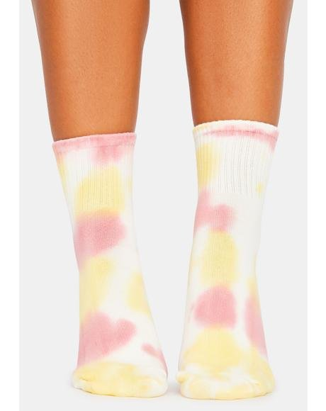 Blush Galactic Flower Crew Socks