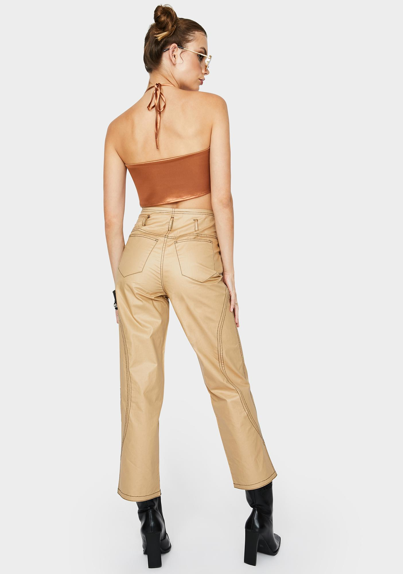 ZEMETA Beige Glossy High Waist Pants
