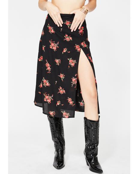 Black Floral Saika Skirt