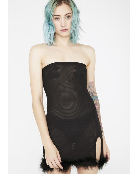Playboy Mesh Boa Dress