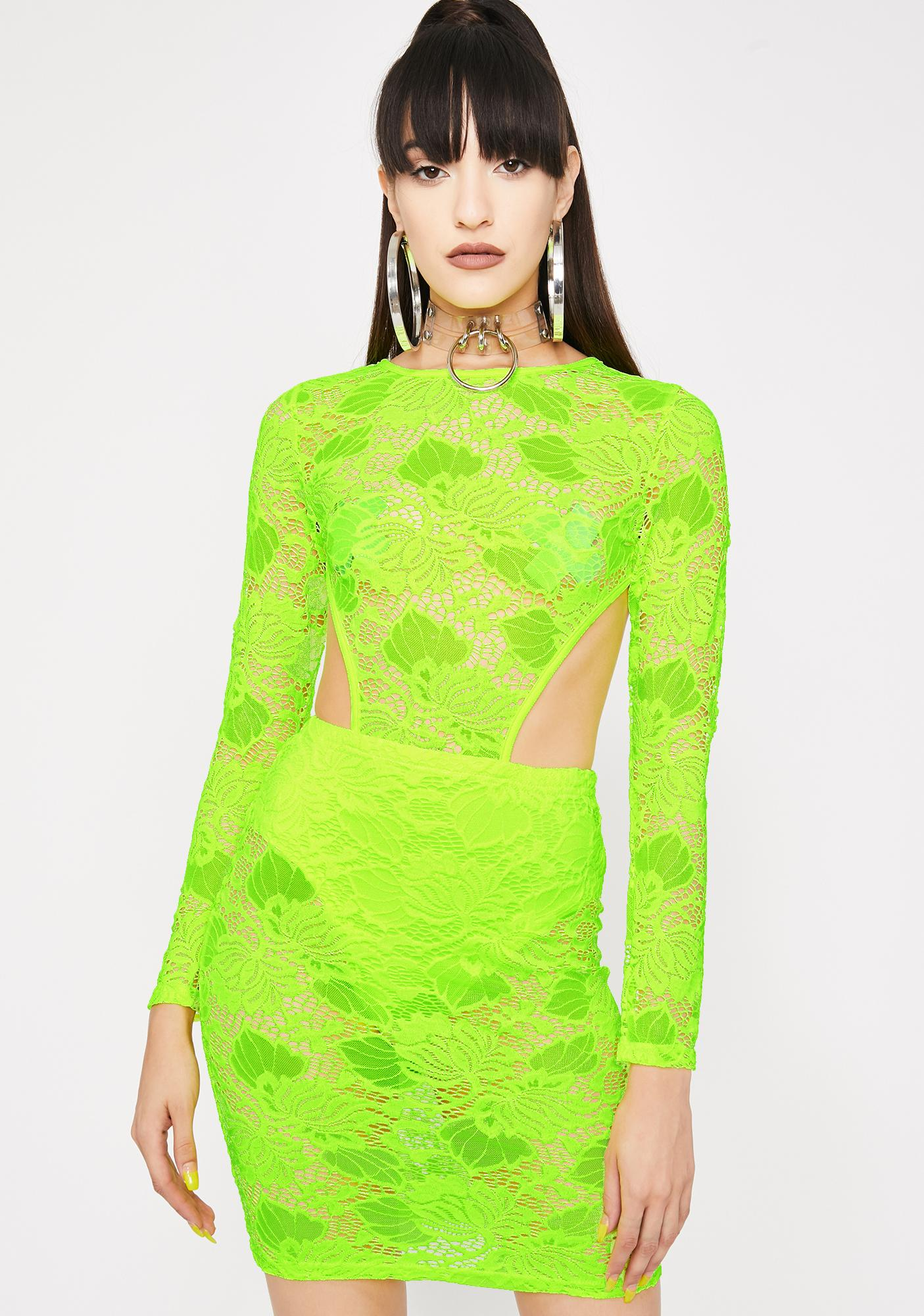 2df5481cb3f Neon Yellow Lace Cut-Out Bodycon Dress