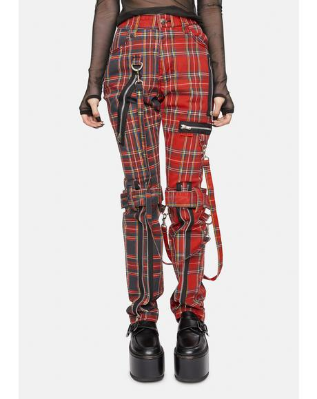 Red Split Leg Plaid Bondage Pants