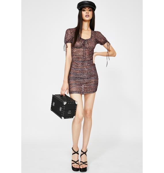 Motel Leopard Guenetta Mesh Dress