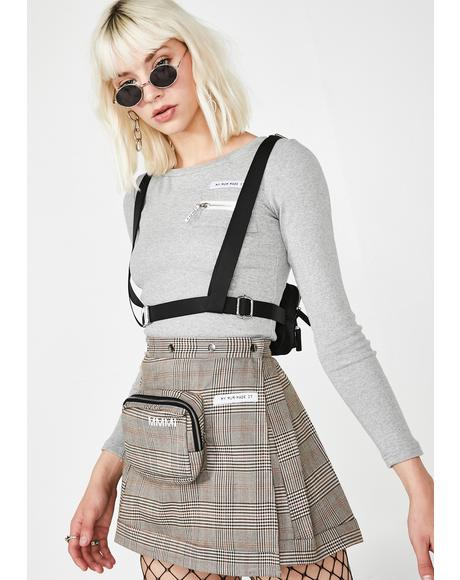 Plaid Pencil Case Pleat Skirt