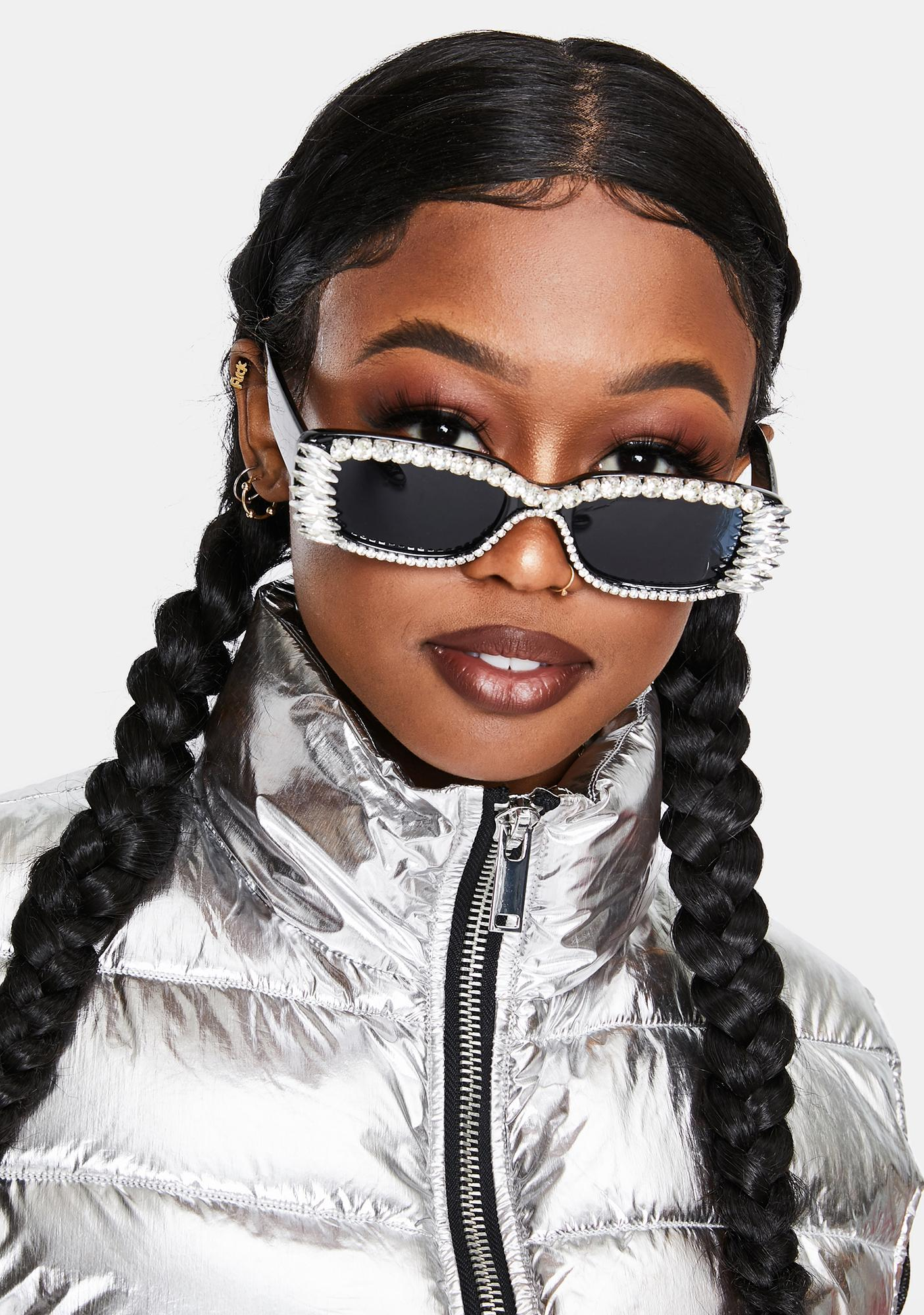 Onyx Fast Check Out Studded Sunglasses
