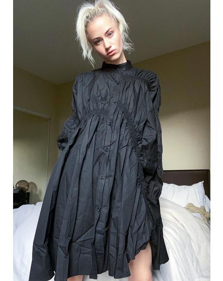 Black Hotaru Pleated Shirt Dress