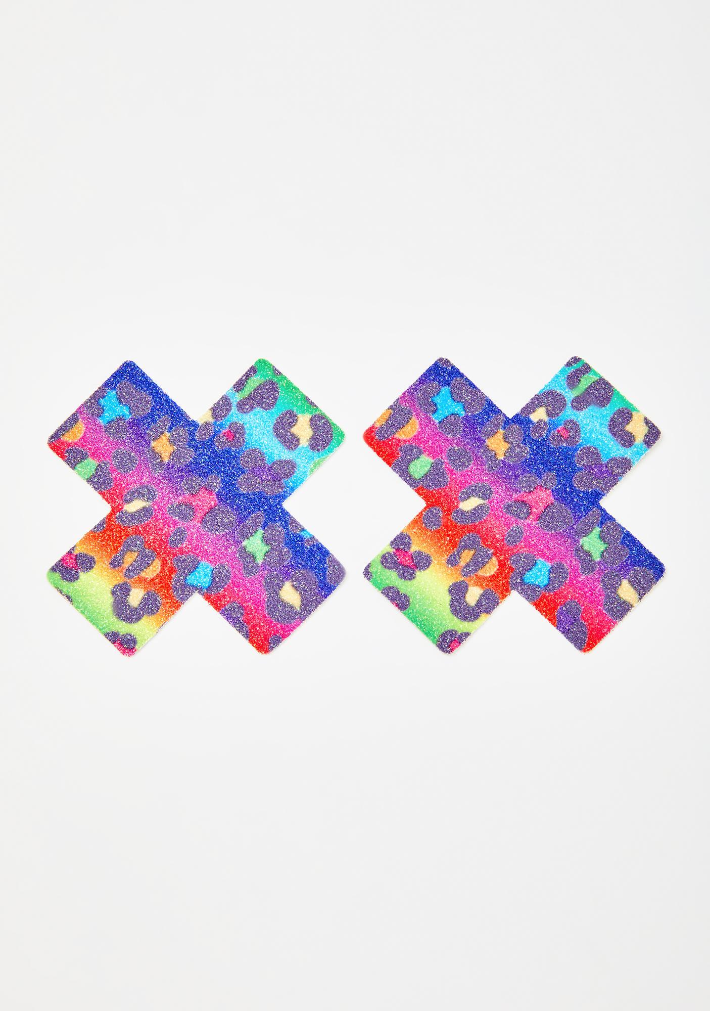 Neva Nude Rainbow Animal Print Cross Pasties
