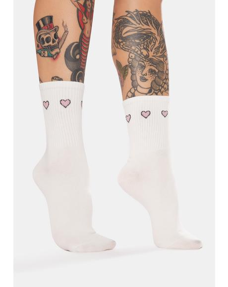 Triple Threat Hearts Crew Socks