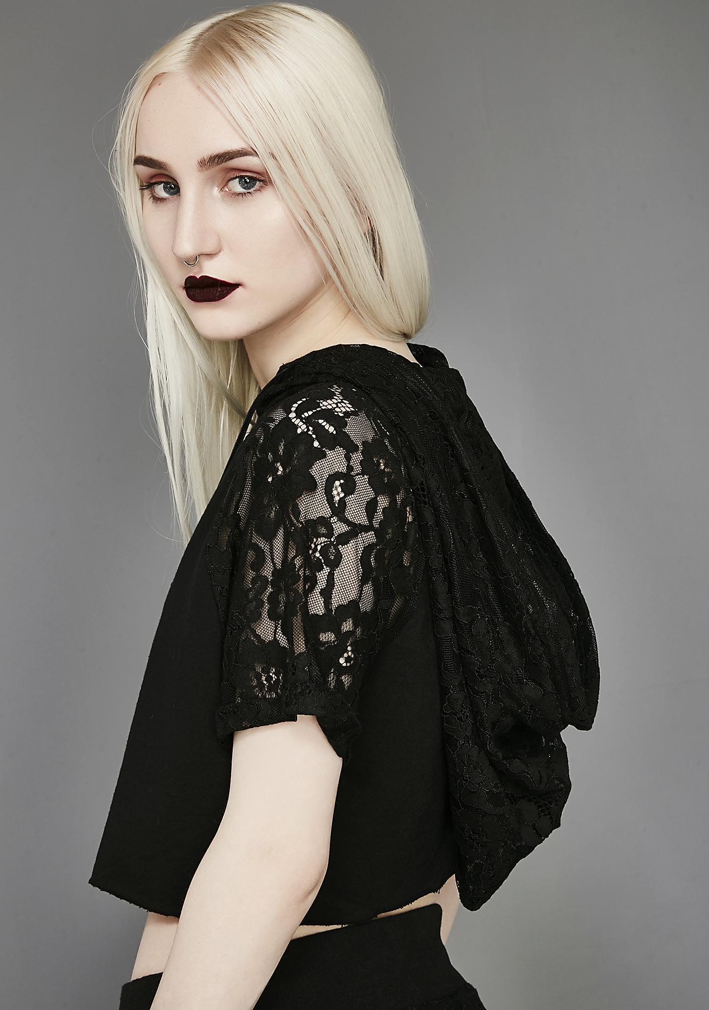 Widow Love Knot Lace Crop Jersey