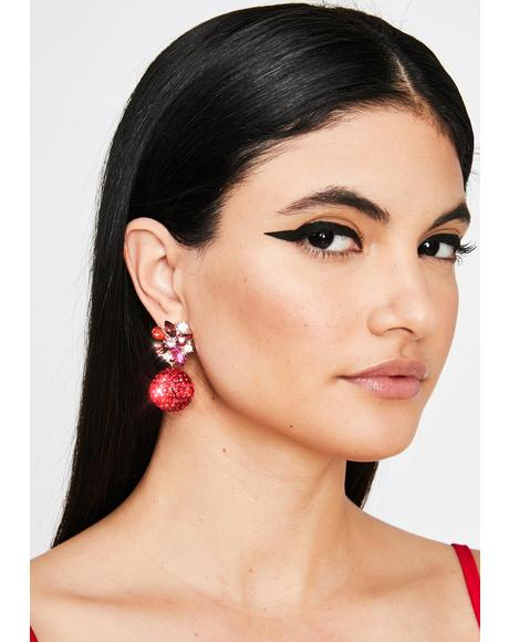 Havin' A Ball Rhinestone Earrings