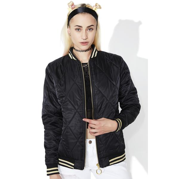 Mink Pink Fair Facade Embroidered Bomber