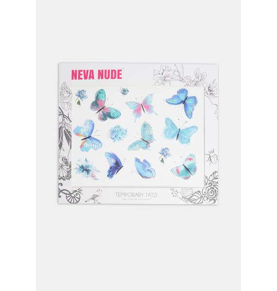 Neva Nude Blue Butterfly Temporary Tattoos