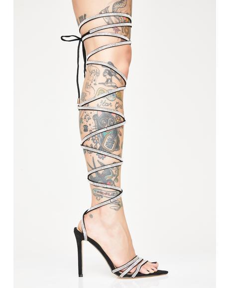 Knee High Rhinestone Heels
