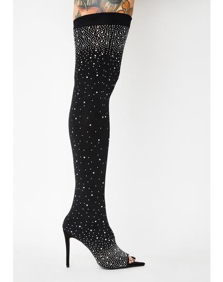 Bad Attitude Alert Rhinestone Thigh Highs