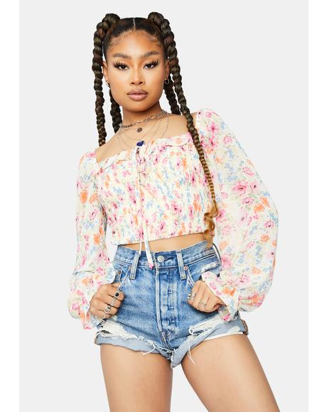 Sun Daze Floral Smocked Crop Top