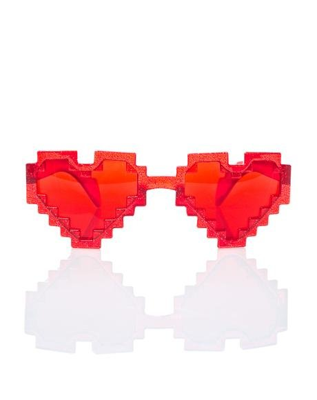 Glitter Pixel Heart Sunglasses