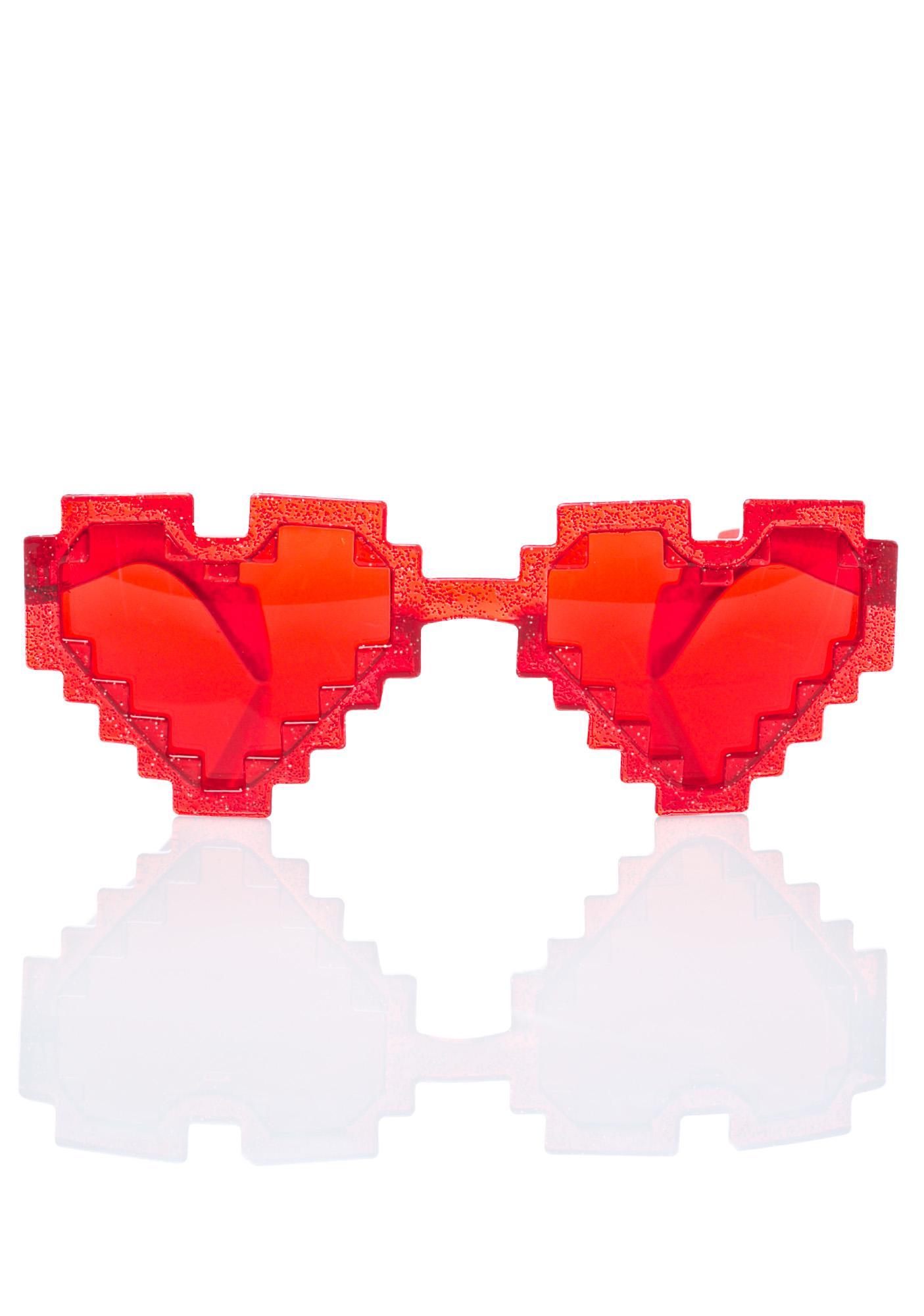 Glitter Pixel Heart Sunglasses