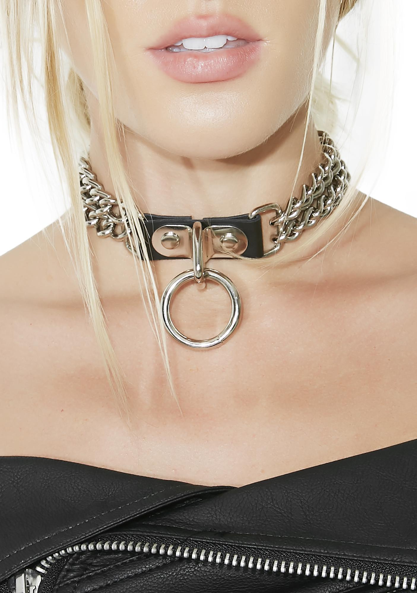 Insidious Double Chain O-Ring Choker