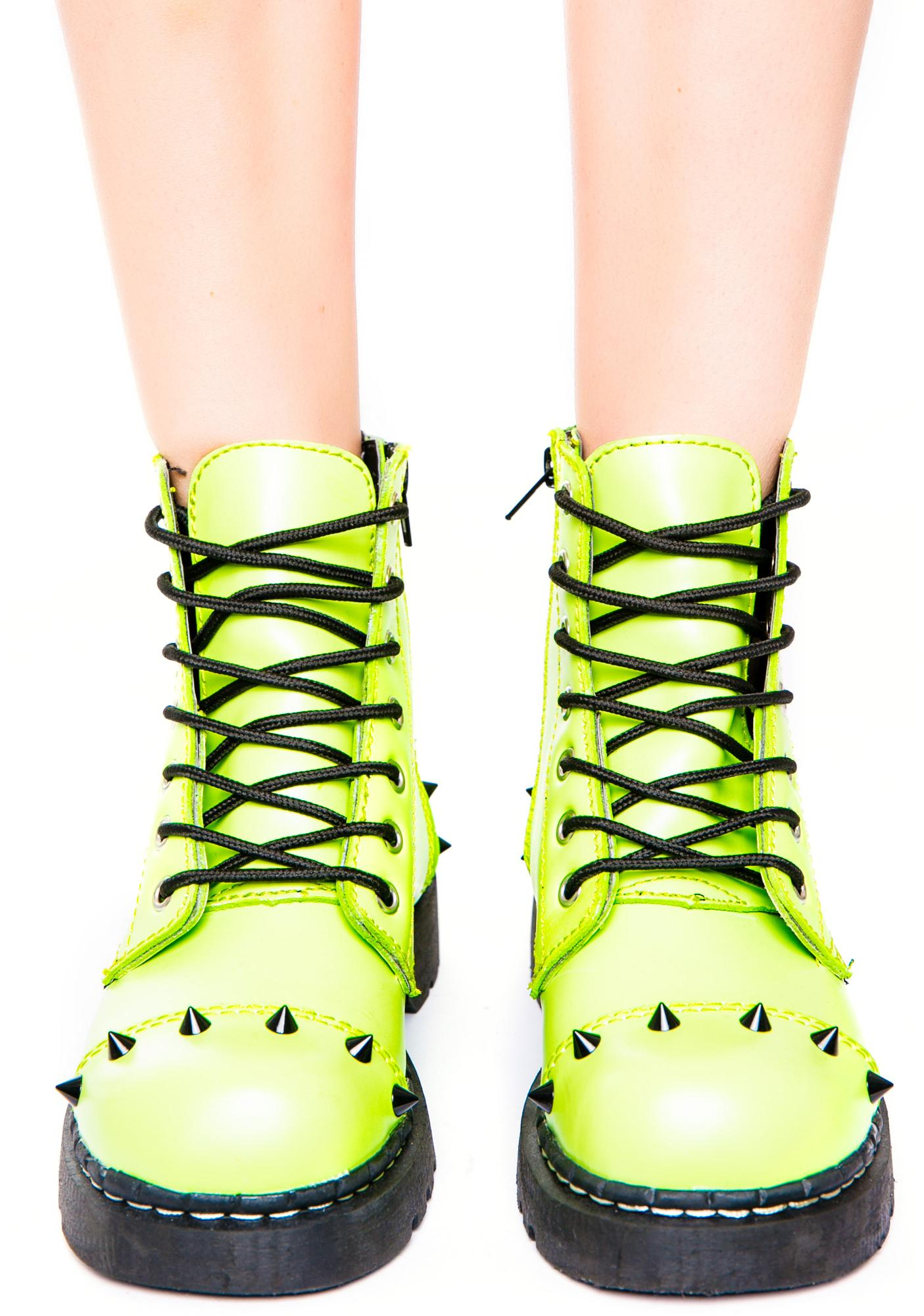 T.U.K. Neon Green Spike 7 Eye Boot