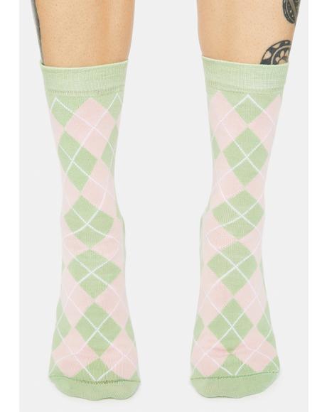 Milkshake Argyle Crew Socks