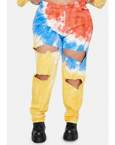 Real Love And Laughter Tie Dye Mom Jeans
