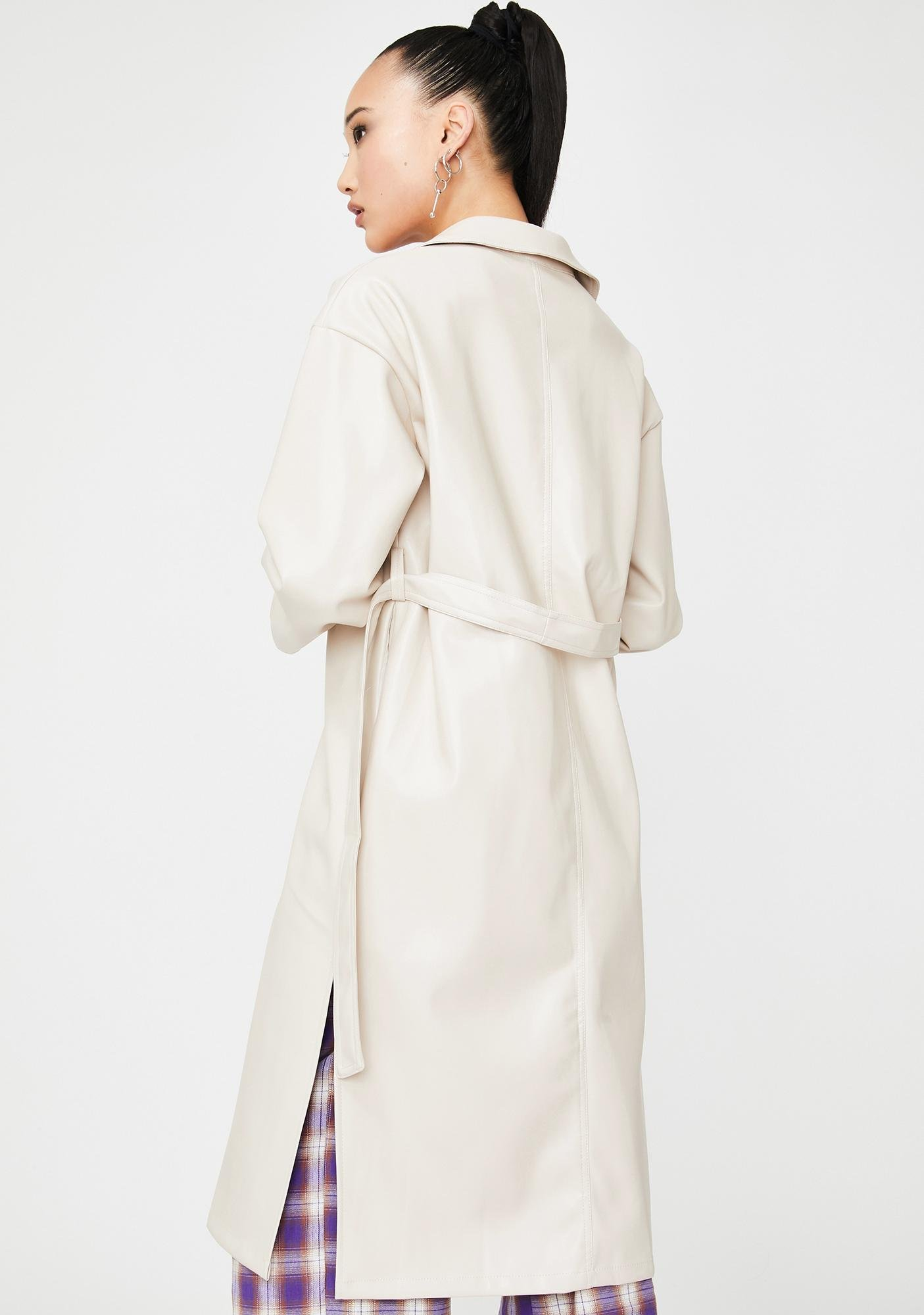 Alzang Cream Vegan Leather Trench Coat