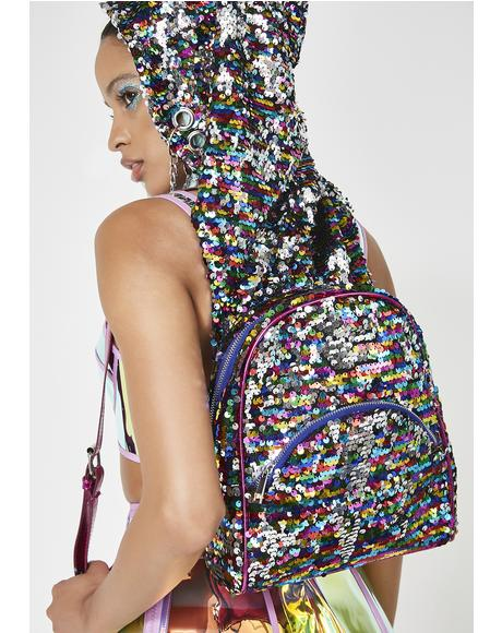 Trippy Disco Hooded Backpack