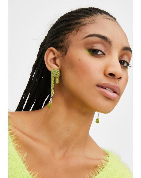 Green Glitter Slime Earrings