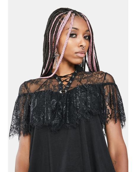Lace Up Eyelash Lace Top