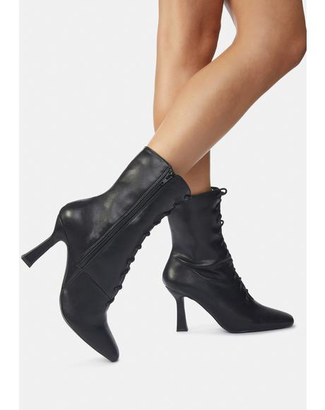 Black Bianco PU Lace Up Ankle Boots