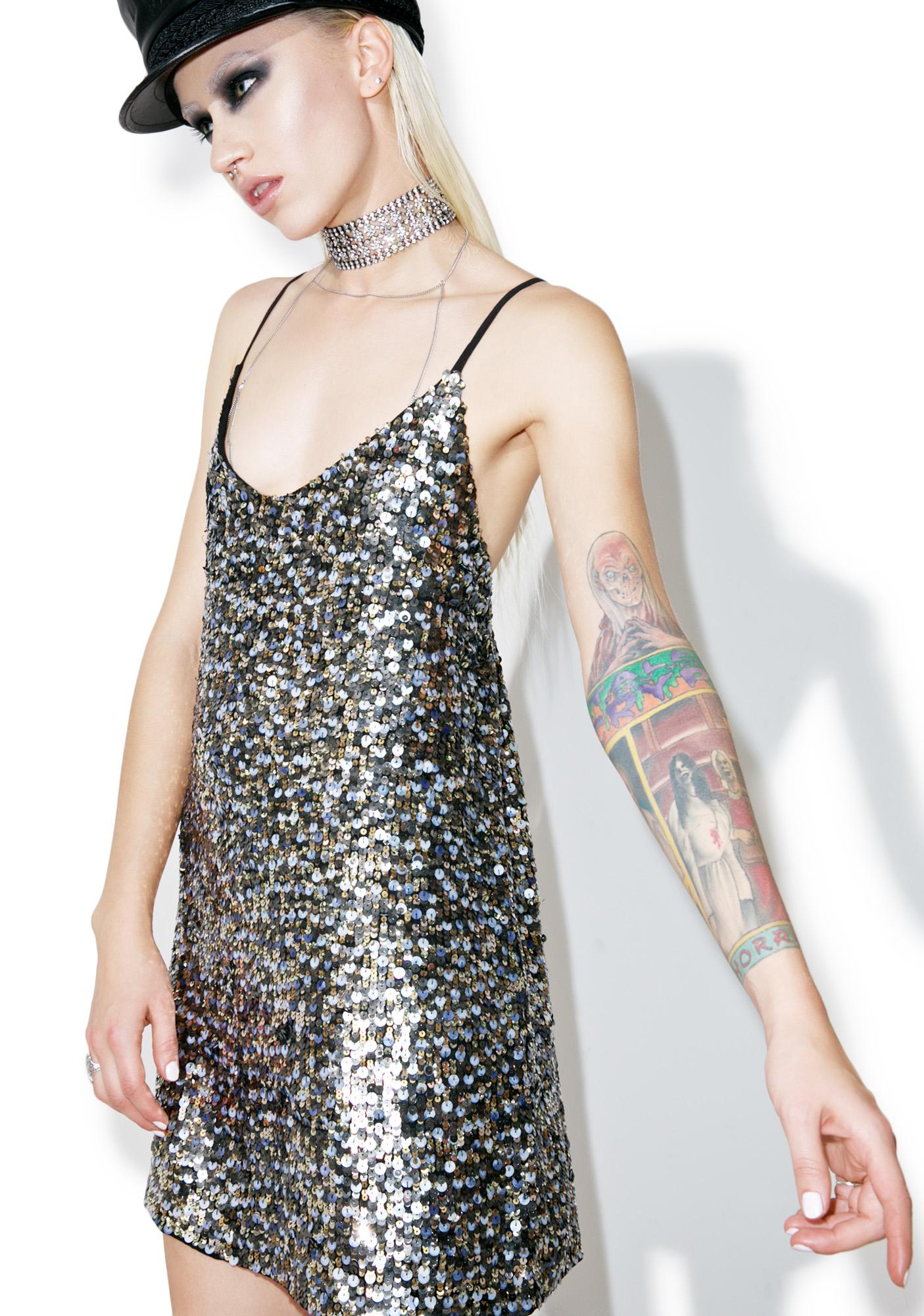 Kendall + Kylie Multi Sequin Slip Dress