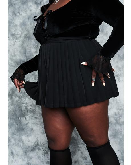 Servin' Rad Omens Pleated Mini Skirt