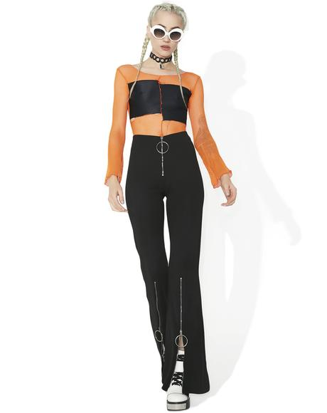 Analog Love Zipper Flares