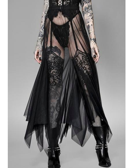 Cryptic Haunt Mesh Maxi Skirt