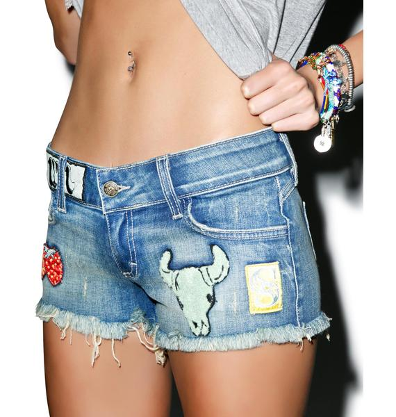 SIWY Denim Camilla Cut Off Patched Shorts