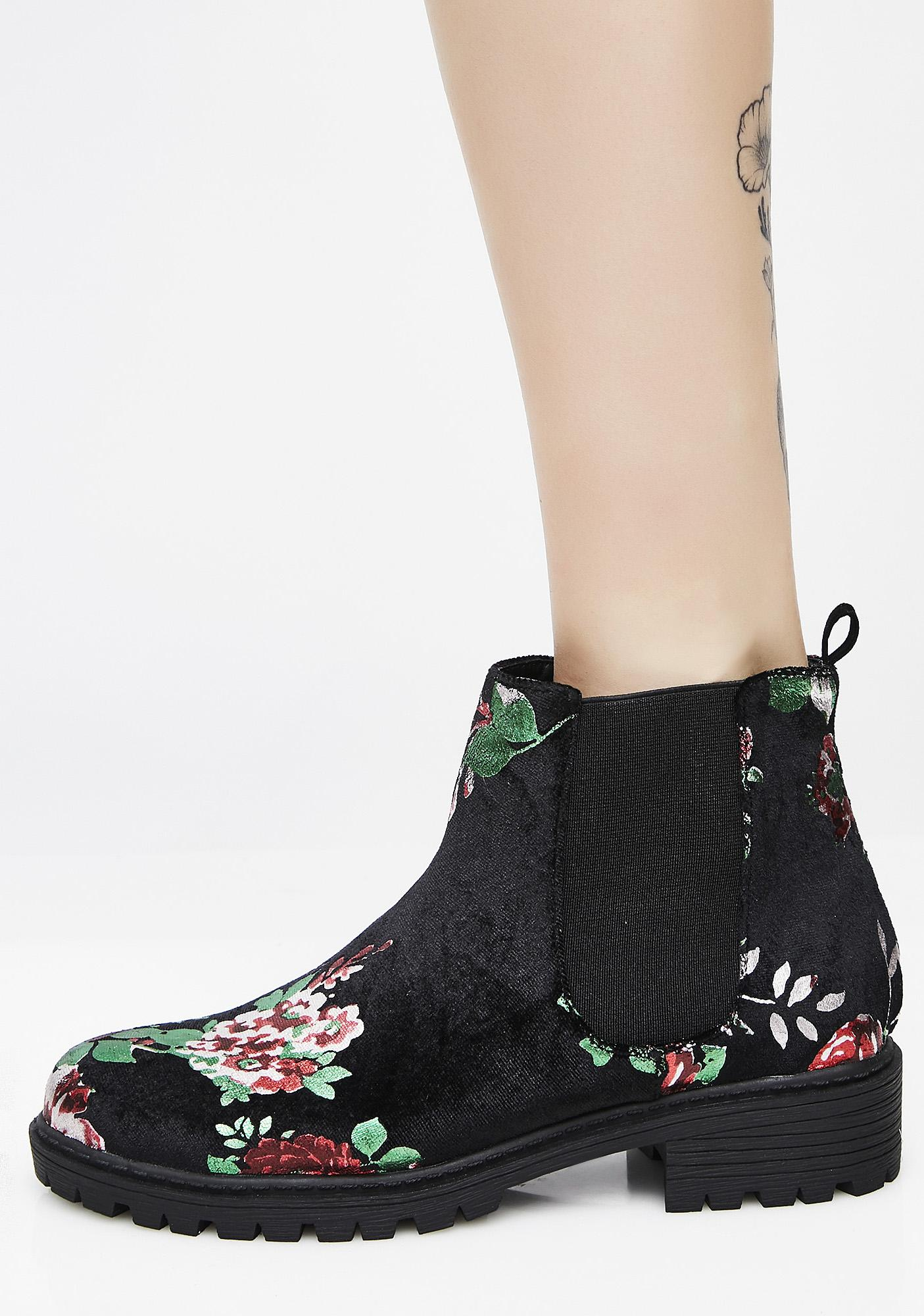 Give Me Flowers Velvet Booties