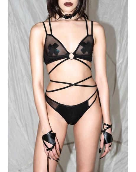 Synth Mesh Wrap Lingerie Set