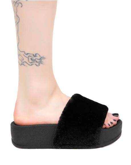 Midnight Paxton Furry Slides