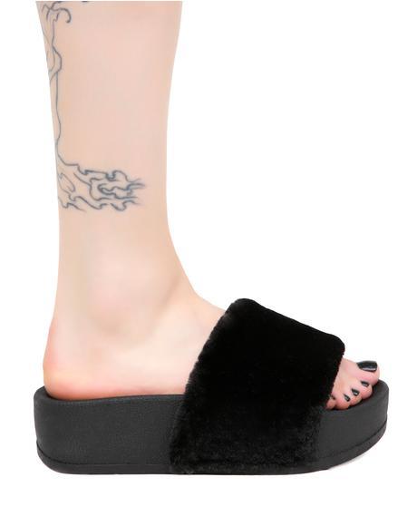 Midnight Paxton Furry Slides