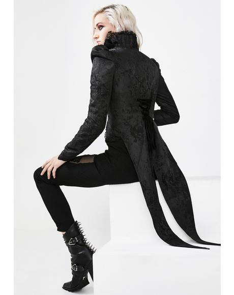 Black Night Ruffled Swallowtail Coat
