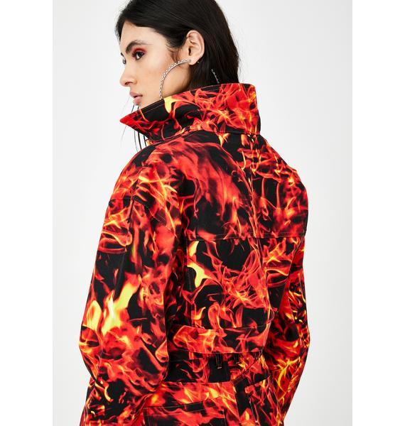 Jaded London Flame Print Cropped Denim Jacket