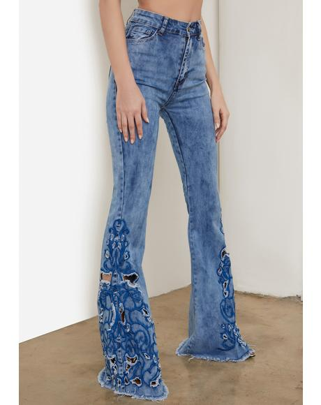 Acid Blue Rooftop Revival Embroidered Jeans