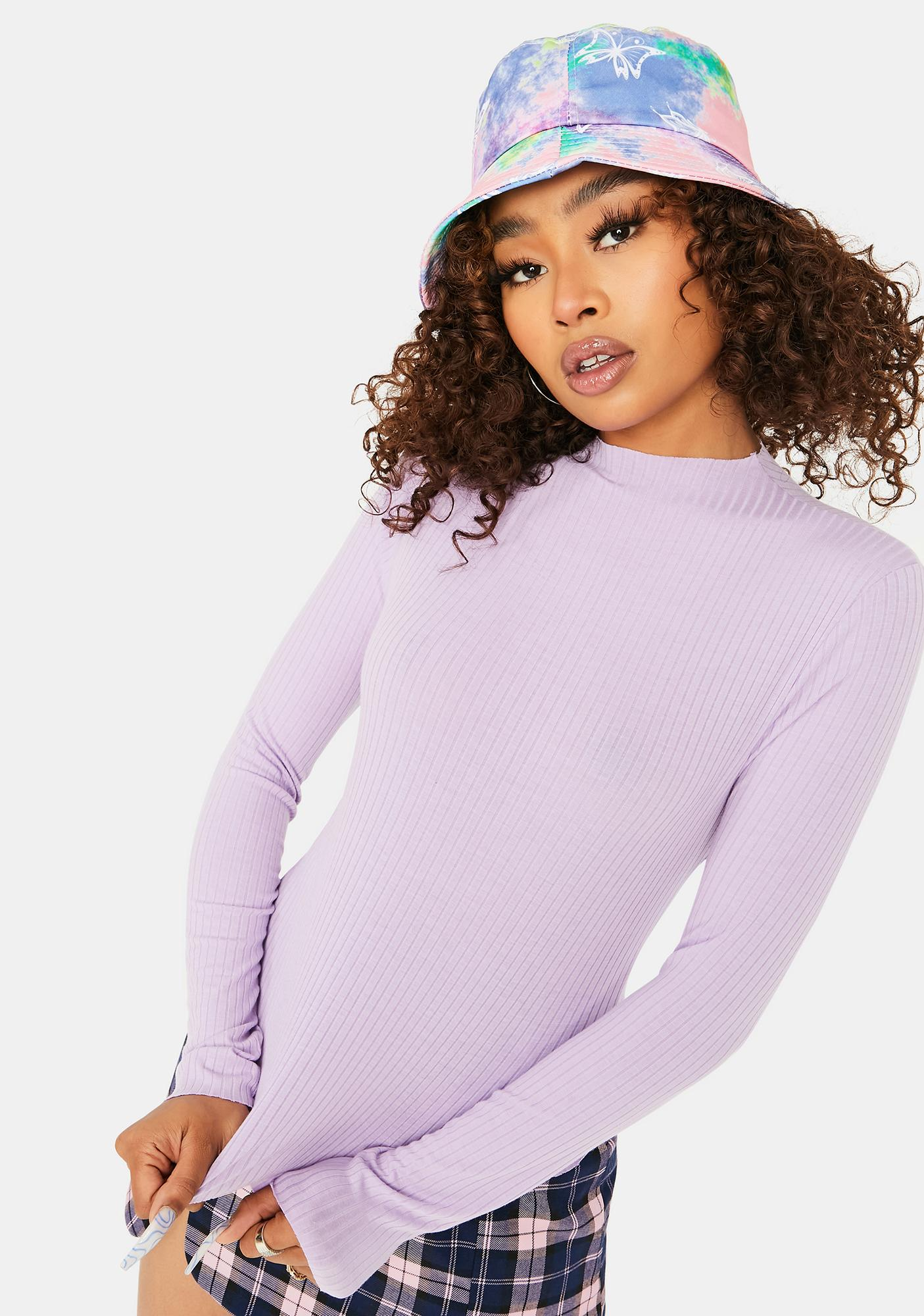 Lilac Lover Mock Neck Crop Top