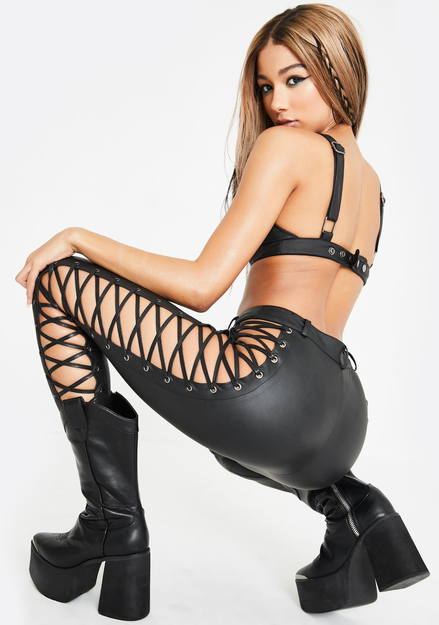 Club Exx Rowdy Room Lace-Up Pants