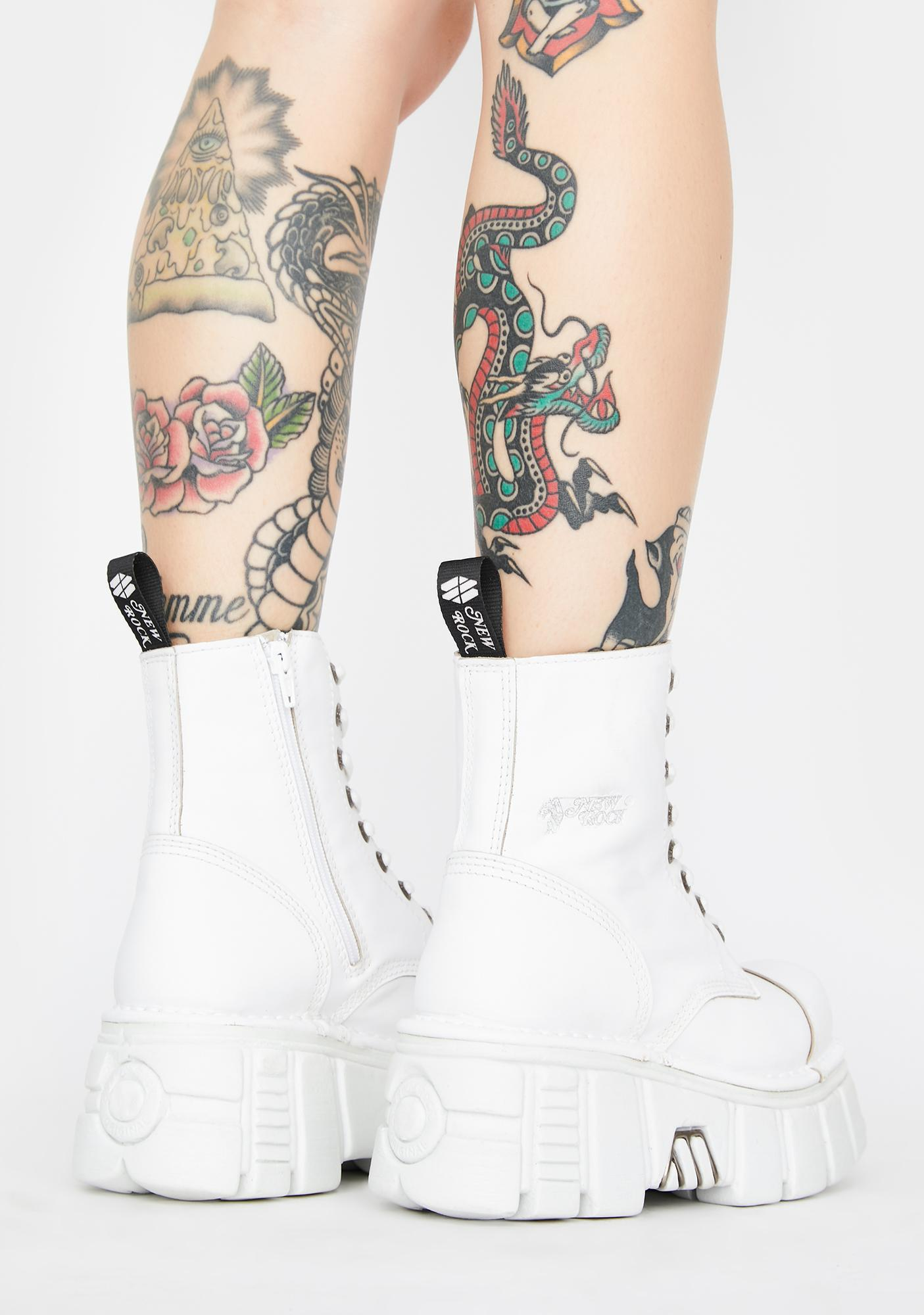 New Rock White Knife Combat Boots